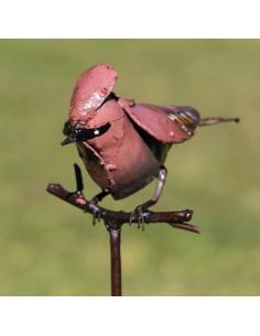 Tuteur  Oiseau Jaseur Boréal en métal recyclé, les oizeaux de passage, décoration jardin