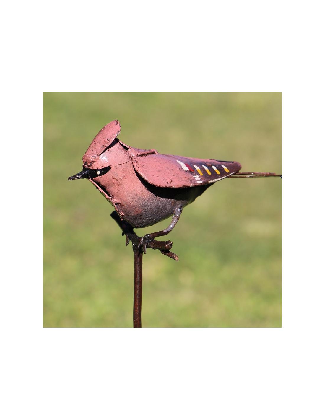 Tuteur oiseau jaseur bor al en m tal recycl d co jardin - Oiseaux metal pour jardin ...