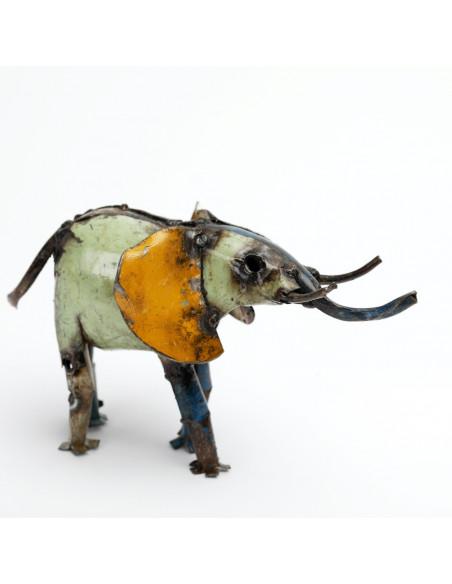 Éléphant coloré en métalrecyclé-Animaux du monde