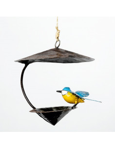Suspension conique mésange bleue-Mangeoire oiseaux à suspendre