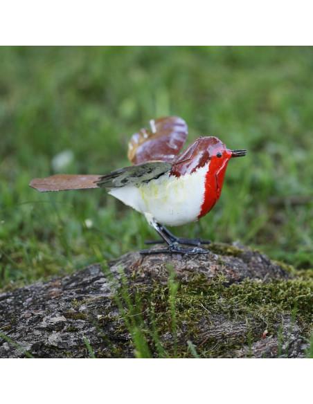 Rouge Gorge en métal peint - Décoration-Petits oiseaux