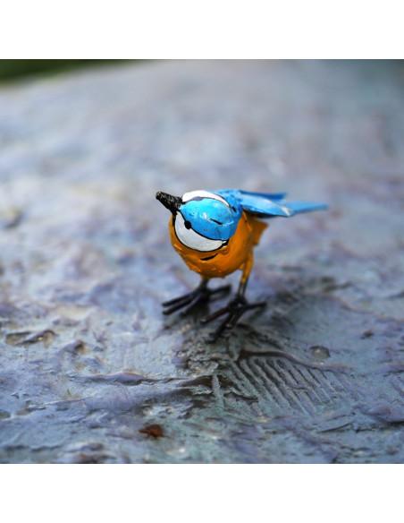 Mésange bleue en métal peint-Petits oiseaux