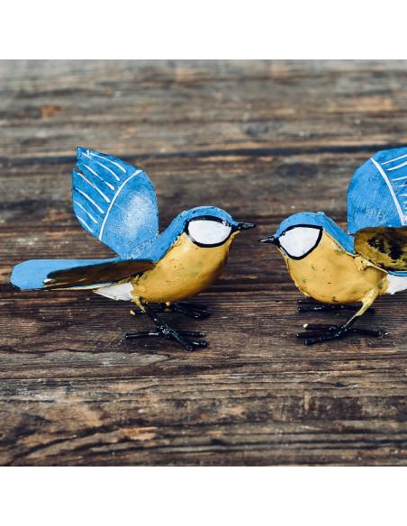 Mésange bleue en métal recyclé-Petits oiseaux