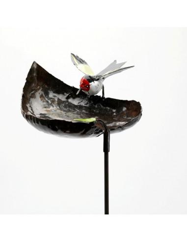 Tuteur Mangeoire coeur chardonneret élégant-Mangeoire oiseaux sur pied