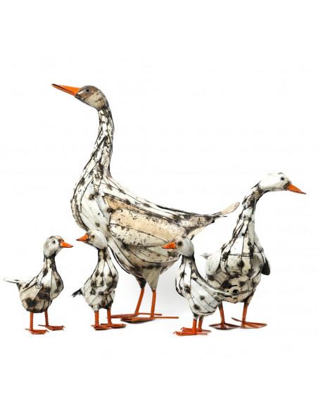 Oie blanche en métal recyclé grand modèle-Basse-cour et animaux de la ferme