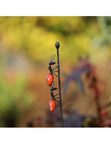 Tuteur 2 fourmis rouges en métal recyclé-Tuteurs insectes