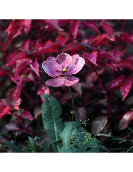 Fleur d'hibiscus en métal recyclé peint (petit modèle)-Tuteurs fleurs