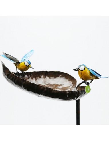 Mangeoire à oiseaux avec 2 mésanges bleues-Mangeoire oiseaux sur pied